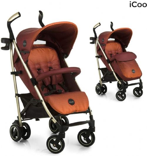 New Hauck Icoo I'coo Pace Pushchair Buggy Pram+Raincover+Cosytoes Mocca Orange